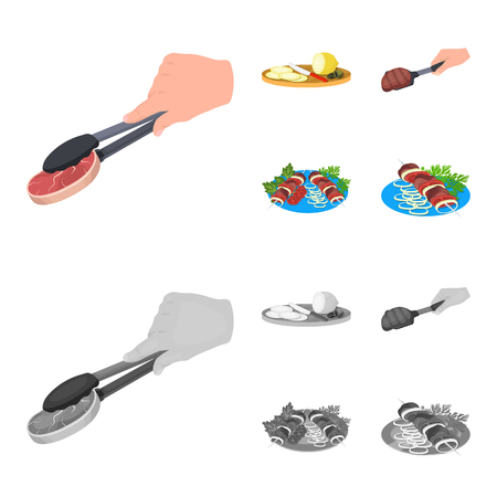 Tongs with steak, fried meat on a scoop, slicing lemon and olives, shish kebab on a plate with vegetables. Food and Cooking set collection icons in cartoon,monochrome style vector symbol stock illustration .