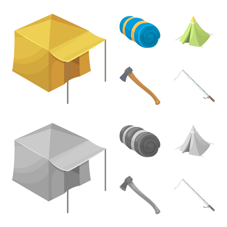 Tent with awning, ax and other accessories.Tent set collection icons in cartoon,monochrome style vector symbol stock illustration . Illustration