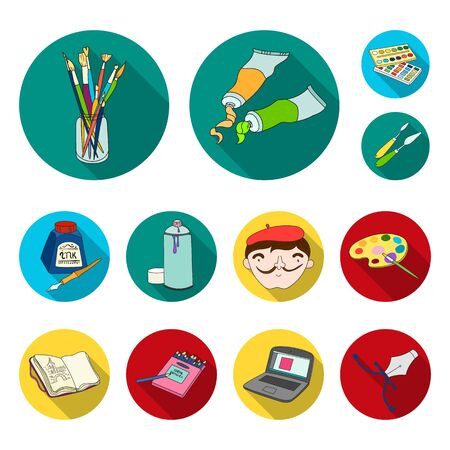 Painter and drawing flat icons in set collection for design. Artistic accessories vector symbol stock  illustration.
