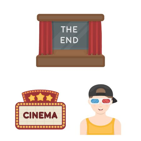 Films and cinema cartoon icons in set collection for design.Movies and Attributes vector symbol stock  illustration.