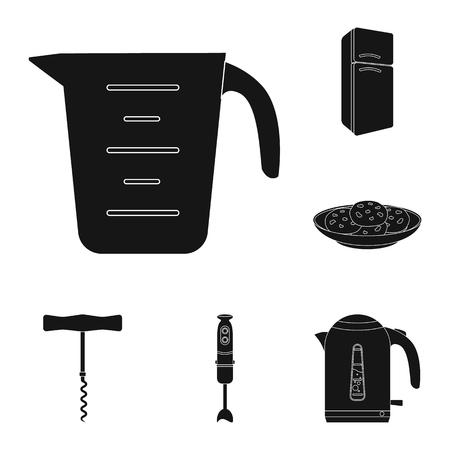 Kitchen equipment black icons in set collection for design. Kitchen and accessories vector symbol stock web illustration. Vektoros illusztráció