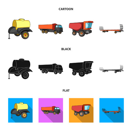Trailer with a barrel, truck and other agricultural devices. Agricultural machinery set collection icons in cartoon,black,flat style vector symbol stock illustration . 向量圖像