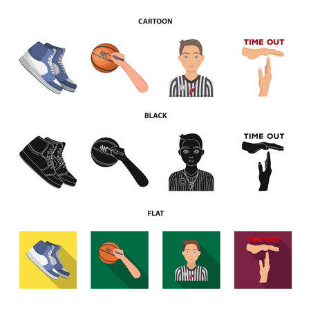 Basketball and attributes cartoon,black,flat icons in set collection for design.Basketball player and equipment vector symbol stock  illustration. 일러스트