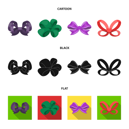 Ornamentals, frippery, finery and other  icon in cartoon,black,flat style.Bow, ribbon, decoration icons in set collection Vettoriali