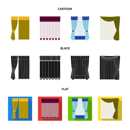 Curtains, drapes, garters, and other  icon in cartoon,black,flat style. Textiles, furniture bow icons in set collection