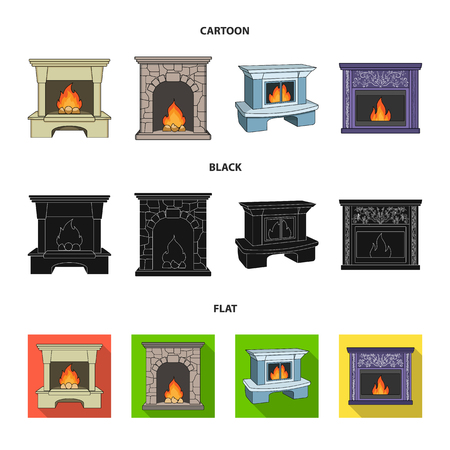 Fire, warmth and comfort.Fireplace set collection icons in cartoon,black,flat style vector symbol stock illustration .