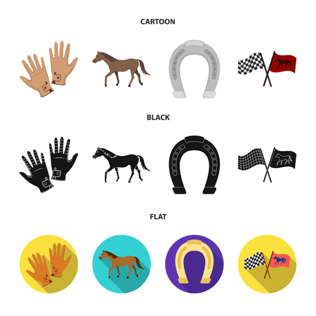Race, track, horse, animal. Hippodrome and horse set collection icons in cartoon black flat style vector symbol stock illustration web. 向量圖像