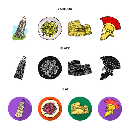 Pisa tower, pasta, coliseum, Legionnaire helmet.Italy country set collection icons in cartoon,black,flat style vector symbol stock illustration .