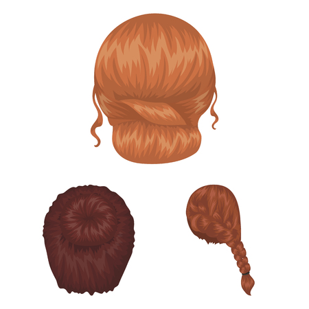 Female hairstyle cartoon icons in set collection for design. Stylish haircut vector symbol stock  illustration. Иллюстрация