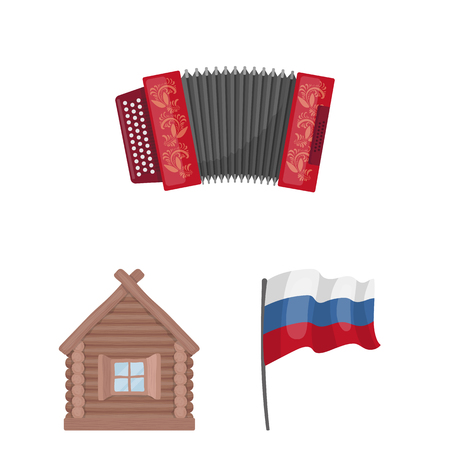 Country Russia, travel cartoon icons in set collection for design. Attractions and features vector symbol stock web illustration.