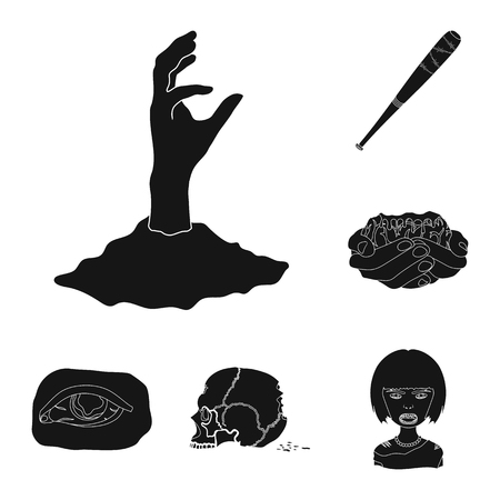 Zombies and Attributes black icons in set collection for design. Dead man vector symbol stock  illustration.
