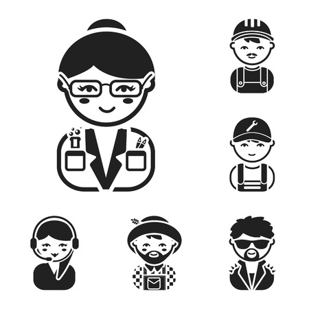 People of different professions black icons in set collection for design. Worker and specialist vector symbol stock  illustration.