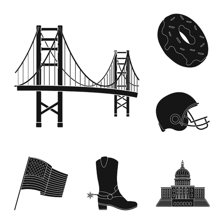 USA country black icons in set collection for design.Travel and attractions vector symbol stock web illustration.