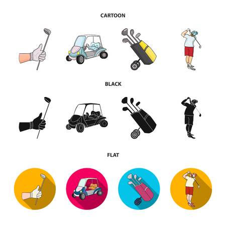A gloved hand with a stick, a golf cart, a trolley bag with sticks in a bag, a man hammering with a stick. Golf Club set collection icons in cartoon,black,flat style vector symbol stock illustration w