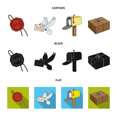 Wax seal, postal pigeon with envelope, mail box and parcel.Mail and postman set collection icons in cartoon,black,flat style vector symbol stock illustration .