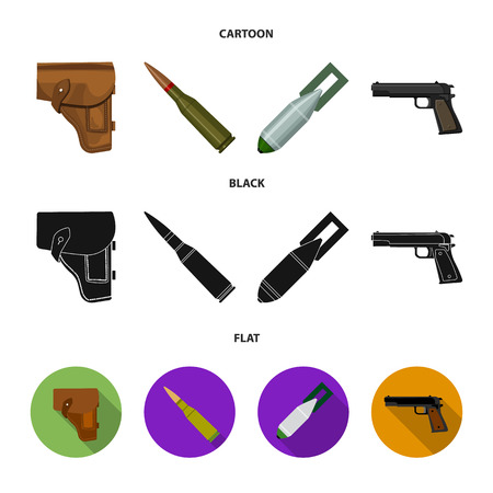 Holster, cartridge, air bomb, pistol. Military and army set collection icons in cartoon,black,flat style vector symbol stock illustration .
