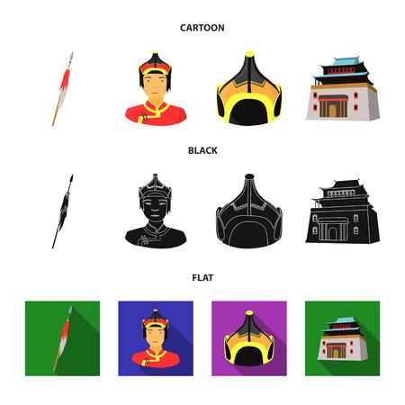 Military spear, Mongolian warrior, helmet, building.Mongolia set collection icons in cartoon,black,flat style vector symbol stock illustration . Illustration
