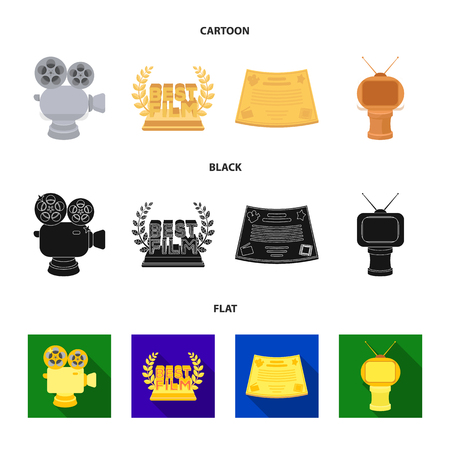 Silver camera. A bronze prize in the form of a TV and other types of prizes.Movie awards set collection icons in cartoon,black,flat style vector symbol stock illustration .
