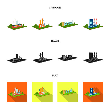 Processing factory,metallurgical plant. Factory and industry set collection icons in cartoon,black,flat style isometric vector symbol stock illustration .