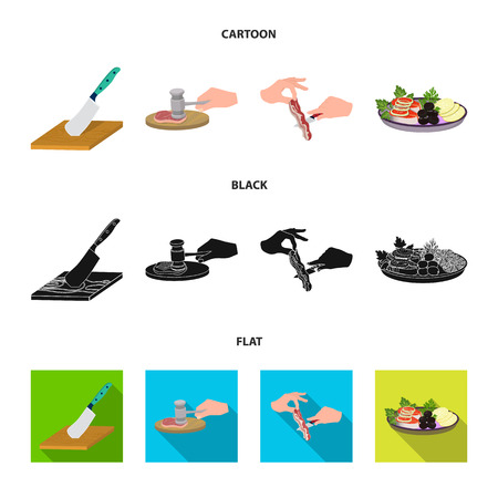 Cutlass on a cutting board, hammer for chops, cooking bacon, eating fish and vegetables. Eating and cooking set collection icons in cartoon,black,flat style vector symbol stock illustration .
