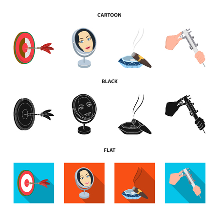 Game Darts, reflection and other icon in cartoon,black,flat style. Cigar in ashtray, calipers icons in set collection.
