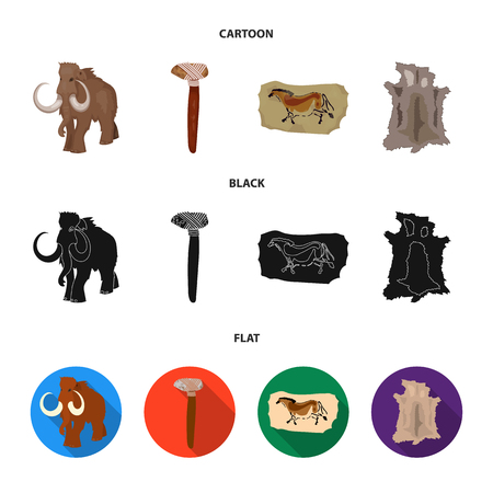Primitive, mammoth, weapons, hammer .Stone age set collection icons in cartoon,black,flat style vector symbol stock illustration .