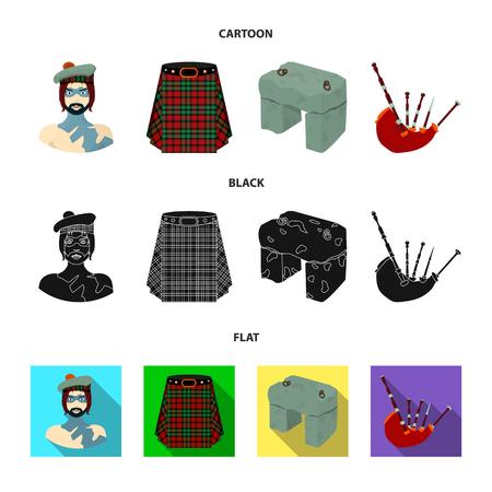 Highlander, Scottish Viking, tartan, kilt, scottish skirt, scone stone, national musical instrument of bagpipes. Scotland set collection icons in cartoon,black,flat style vector symbol stock illustration .