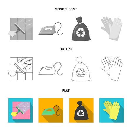 Cleaning and maid flat,outline,monochrome icons in set collection for design. Equipment for cleaning vector symbol stock  illustration.
