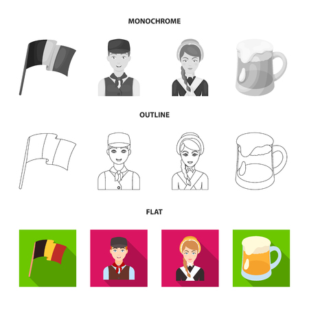 Chocolate, cathedral and other symbols of the country.Belgium set collection icons in flat,outline,monochrome style vector symbol stock illustration .