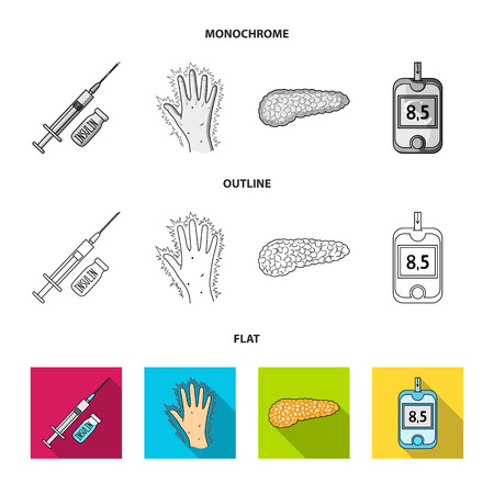 Poor vision, headache, glucose test, insulin dependence. Diabetic set collection icons in flat,outline,monochrome style vector symbol stock illustration web.  イラスト・ベクター素材