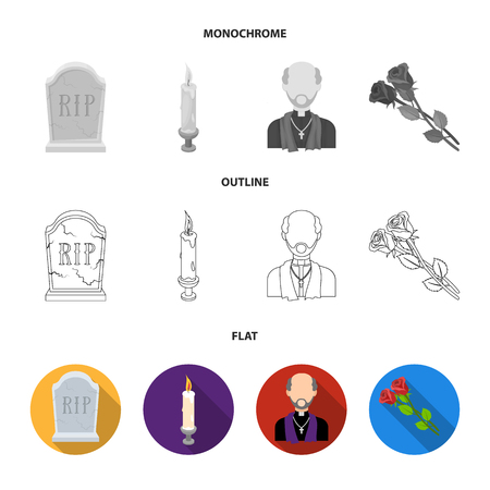 Coffin with a lid and a cross, a photograph of the deceased with a mourning ribbon, a corpse on the table with a tag in the morgue, death in a hood. Funeral ceremony set collection icons in flat,outline,monochrome style vector symbol stock illustration .