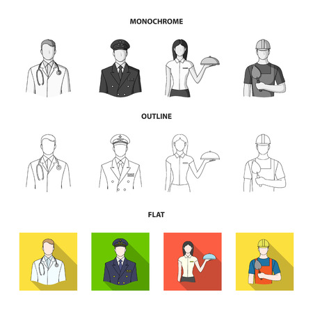 Cook, painter, teacher, locksmith mechanic.Profession set collection icons in flat,outline,monochrome style vector symbol stock illustration web.