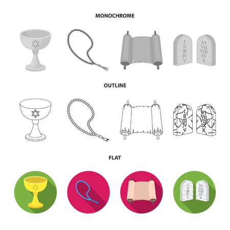 Bible, menorah, hamsa, orthodox cross.Religion set collection icons in flat,outline,monochrome style vector symbol stock illustration web.
