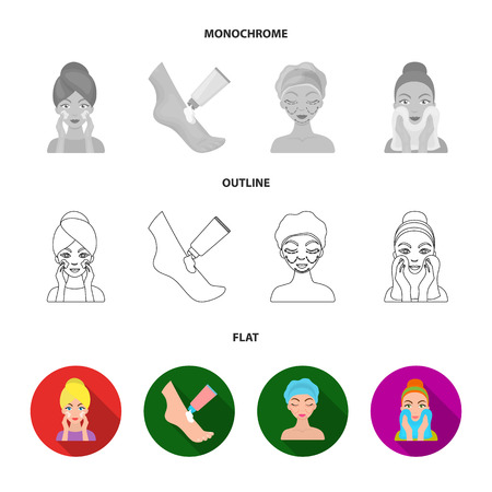 Face care, plastic surgery, face wiping, moisturizing the feet. Skin Care set collection icons in flat,outline,monochrome style vector symbol stock illustration . Illustration