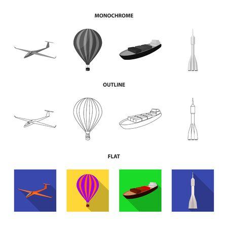 Un drone, un planeur, un ballon, une barge de transport, une fusée spatiale modes de transport. Icônes de collection de jeu de transport à plat, contour, illustration stock de symbole de vecteur de le style monochrome. Banque d'images - 99829610