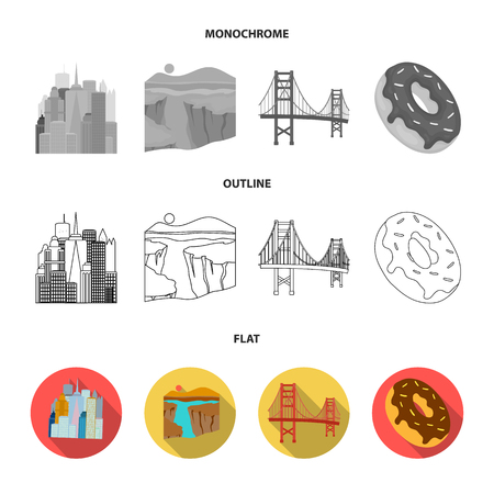 A megacity, a grand canyon, a golden gate bridge, donut with chocolate. The US country set collection icons in flat,outline,monochrome style vector symbol stock illustration . Illustration