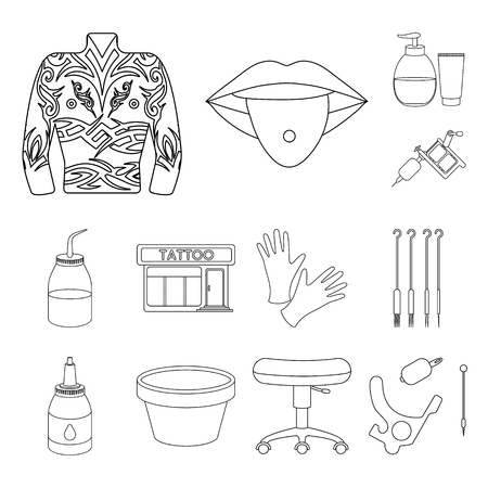 Tattoo, drawing on the body outline icons in set collection for design.