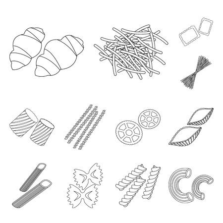 Types of pasta outline icons