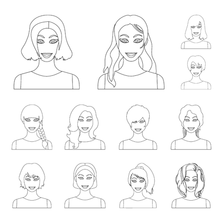 Types of female hairstyles outline icons