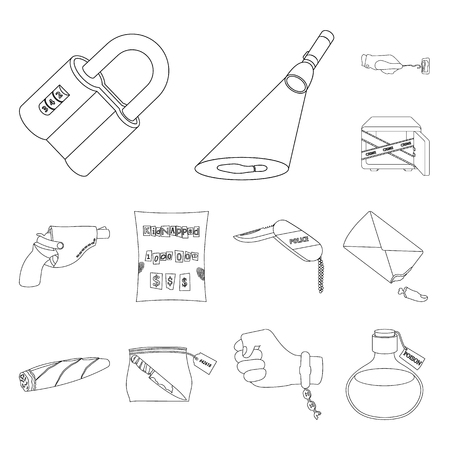 Detective agency outline icons