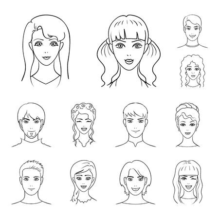 Avatar and face outline icons in set collection for design. A person appearance vector symbol stock illustration.