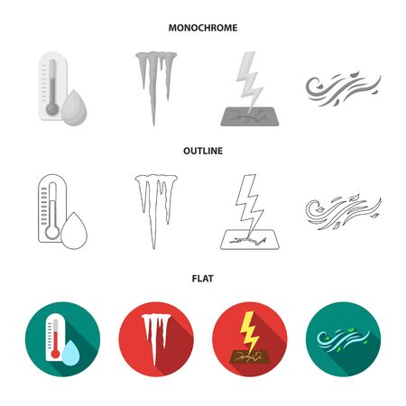 Humidity, icicles, thunderbolt, windy weather. Weather set collection icons in flat,outline,monochrome style vector symbol stock illustration .