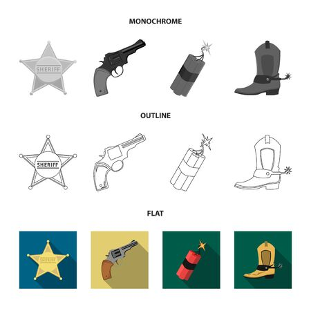 Star sheriff, Colt, dynamite, cowboy boot. Wild West set collection icons in flat,outline,monochrome style vector symbol stock illustration .