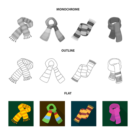 Various kinds of scarves, scarves and shawls. Scarves and shawls set collection icons in flat,outline,monochrome style vector symbol stock illustration web.