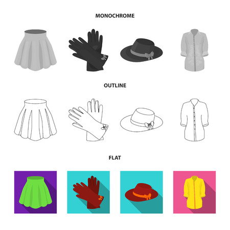 Skirt with folds, leather gloves, women hat with a bow, shirt on the fastener. Women clothing set collection icons in flat,outline,monochrome style vector symbol stock illustration .