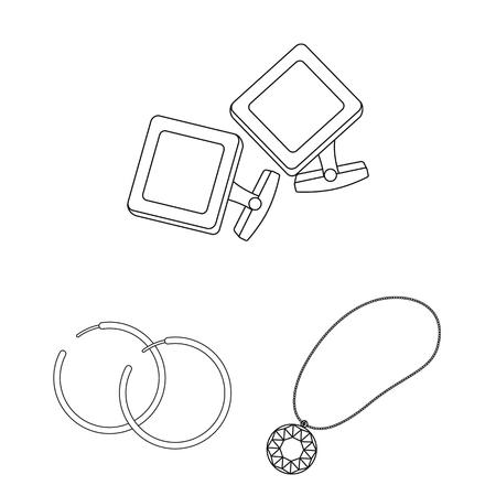 Jewelry and accessories outline icons Ilustração