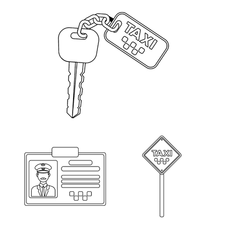 Taxi service outline icons in set collection for design. Taxi driver and transport vector symbol stock  illustration. Иллюстрация
