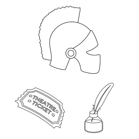 Icone del profilo di arte teatrale nella raccolta dell'insieme per progettazione Illustrazione delle azione di simbolo di vettore dell'attrezzatura e degli accessori del teatro. Archivio Fotografico - 99832033