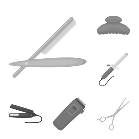 Hairdresser and tools monochrome icons in set collection for design.Profession hairdresser vector symbol stock web illustration.