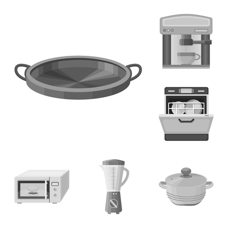 Kitchen equipment monochrome icons in set collection for design. Kitchen and accessories vector symbol stock web illustration.